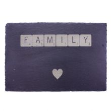 Slate Scrabble Tile Platter - Natural Edge 30 x 20cm Personalised, Design Yours